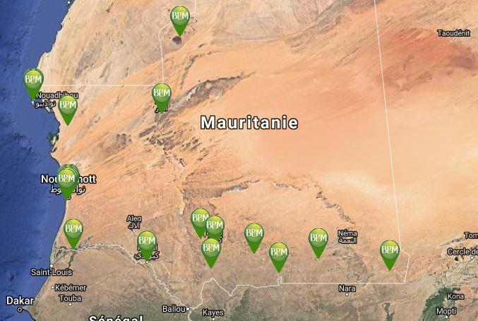 La BPM (Banque Populaire de Mauritanie) couvre un réseau de 34 agences réparties sur le territoire national.